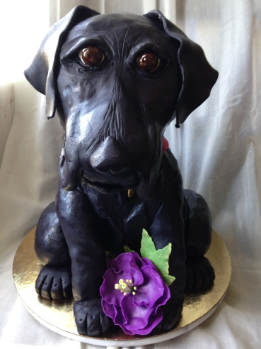 Chocolate Strawberry black lab puppy cake