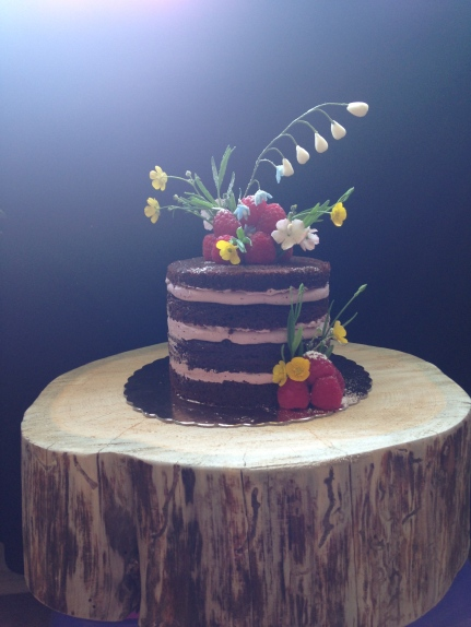 Chocolate huckelberry lavender naked cake