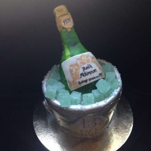 Champagne on ice cake