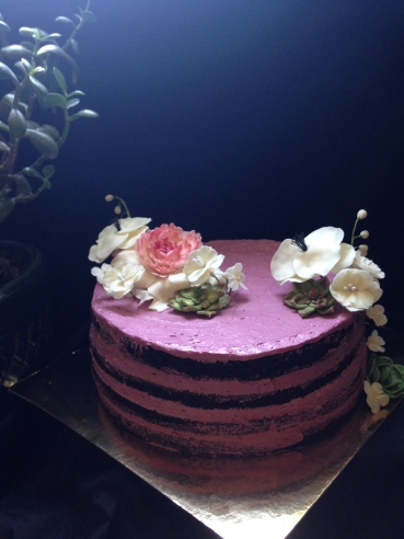 Chocolate blackbetty naked cake, with fondant succulents & fondant flowers