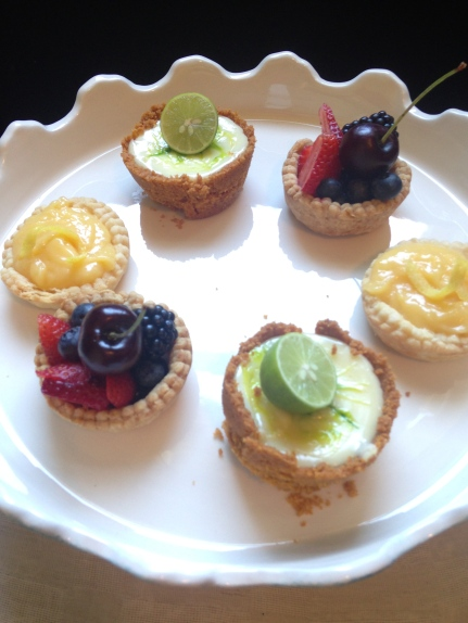 Lemon, Berry and Key lime tarts