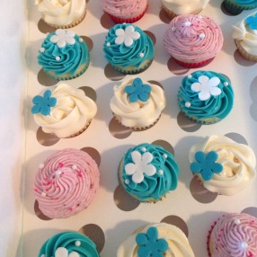 Blue White and pink cupcakes
