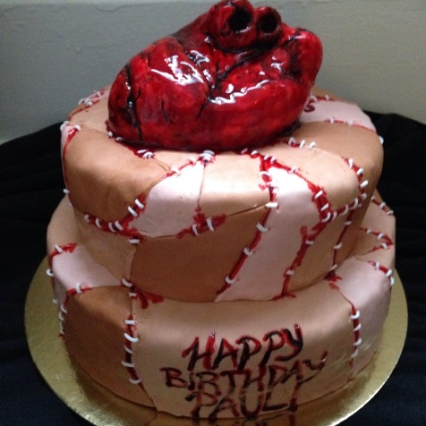 Gluten free double chocolate bleeding hart skin patch cake.
