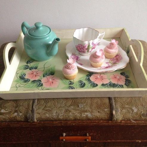Tea party , with vanilla raspberry cupcakes