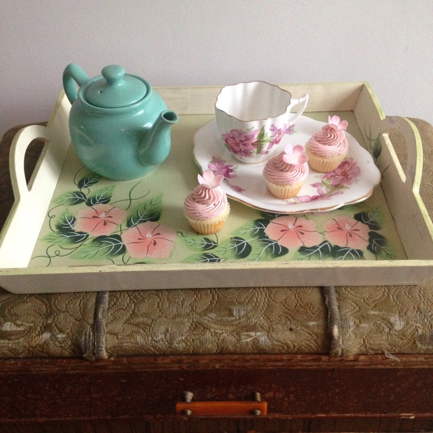 Tea party , with vanilla raspberry cupcakes