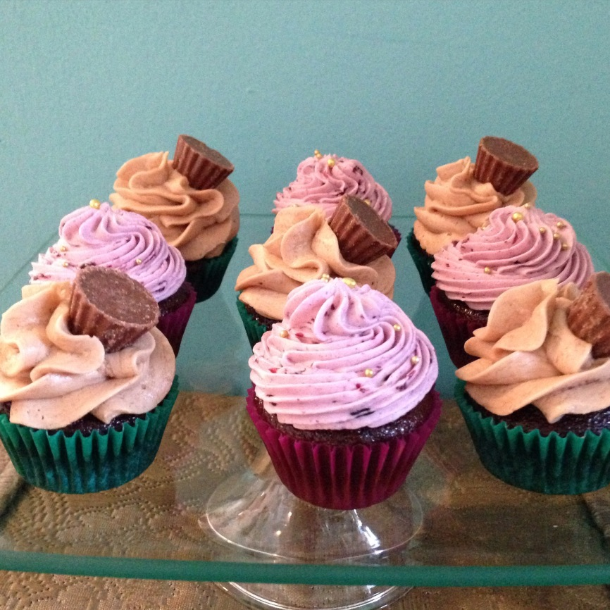 Chocolate mixed berry & peanut butter cup cupcakes