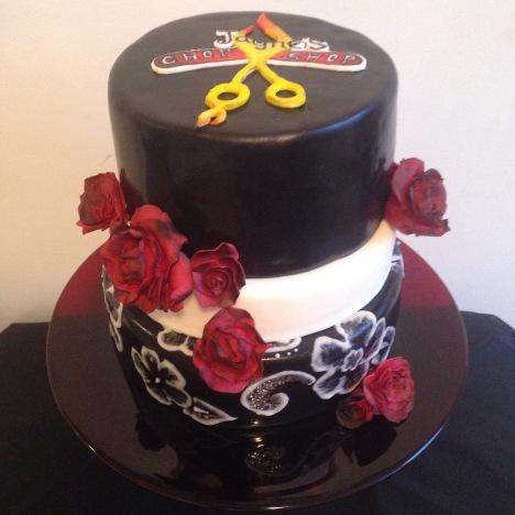 Jane's Chop Shop cake. Vanilla raspberry cake.