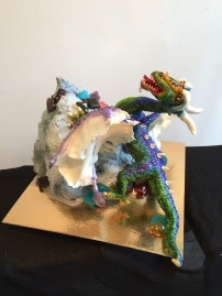 Chocolate lemon swirl mountain Cake with butter cream, sugar jewels and a Dragon sculpture
