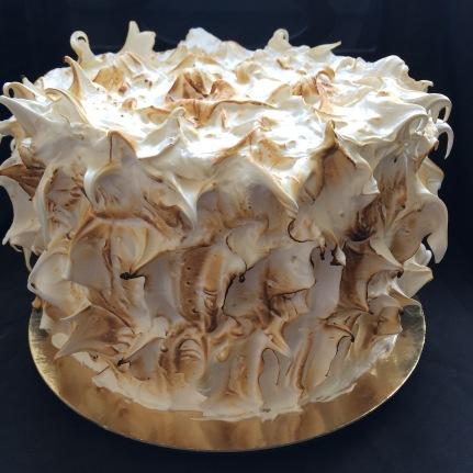 Raspberry lemon meringue cake