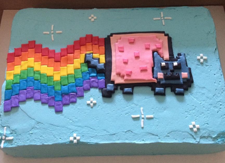 Nyan cat cake, pink cherry cake with blue buttercream and a fondant Nyan cat.