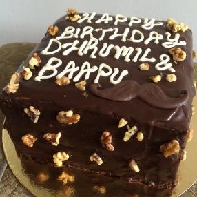 Eggless chocolate walnut ganache cake