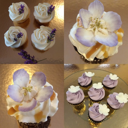 Chocolate salted caramel, Vanilla Lavender and mini chocolate raspberry with purple Buttercream and fondant blossoms