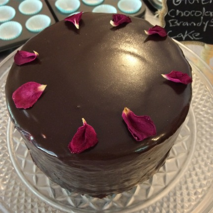 Gluten free chocolate orange brandy spike cake, today at the Blue Mule Cafe