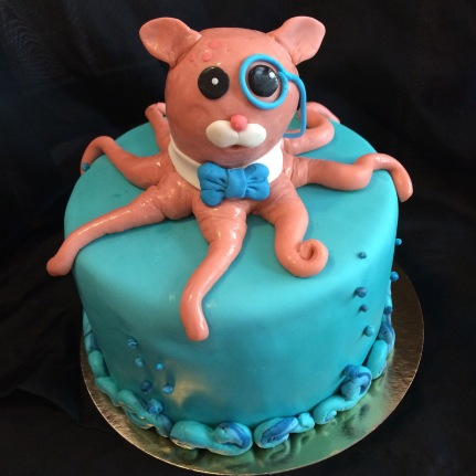 Strawberries n Cream Octopus with a monocle cake