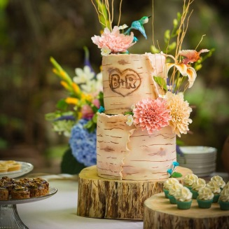 Birch bark wedding cake with with hand made flowers and humming birds.