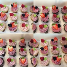 Fruity!!! chocolate and vanilla cupcakes with fruity buttercream icings and fresh fruit