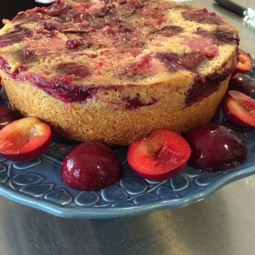 Upside down plum spice cake