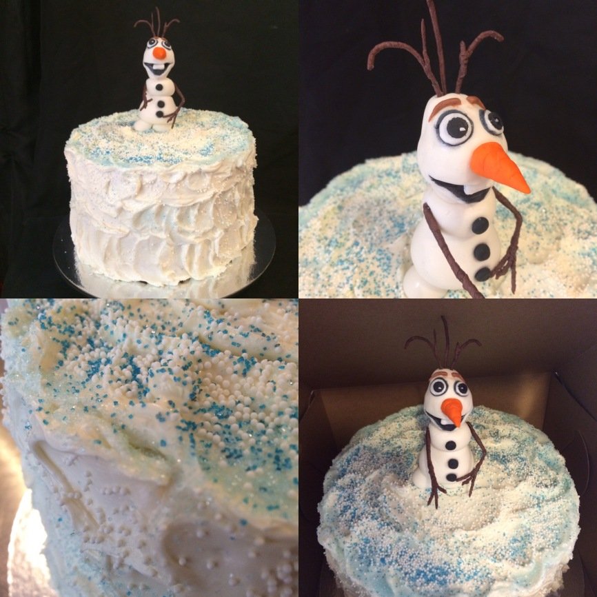 Vanilla mixed berry cake with vanilla buttercream, blue sugar sprinkles and a fondant Olof from the movie Frozen