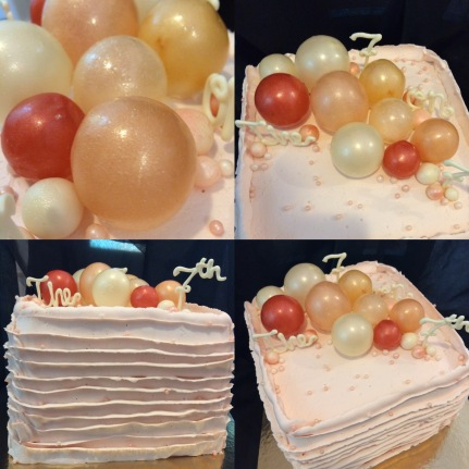 Champagne bubble birthday cake, vanilla with light pink buttercream ruffles, sugar beads and gelatine champagne bubbles.