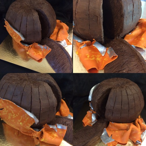 Chocolate orange cake: chocolate cake with orange chocolate ganache, and a fondant wrapper.