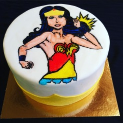 Hand painted wonder woman cake