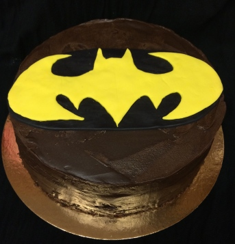 Egglis chocolate Batman cake with chocolate gnash