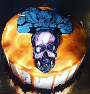 Hand painted skull salted caramel cake