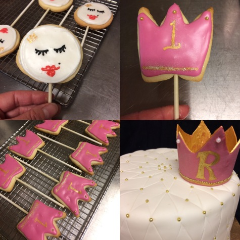 Princess pillow cake with matching Princess cookie pops