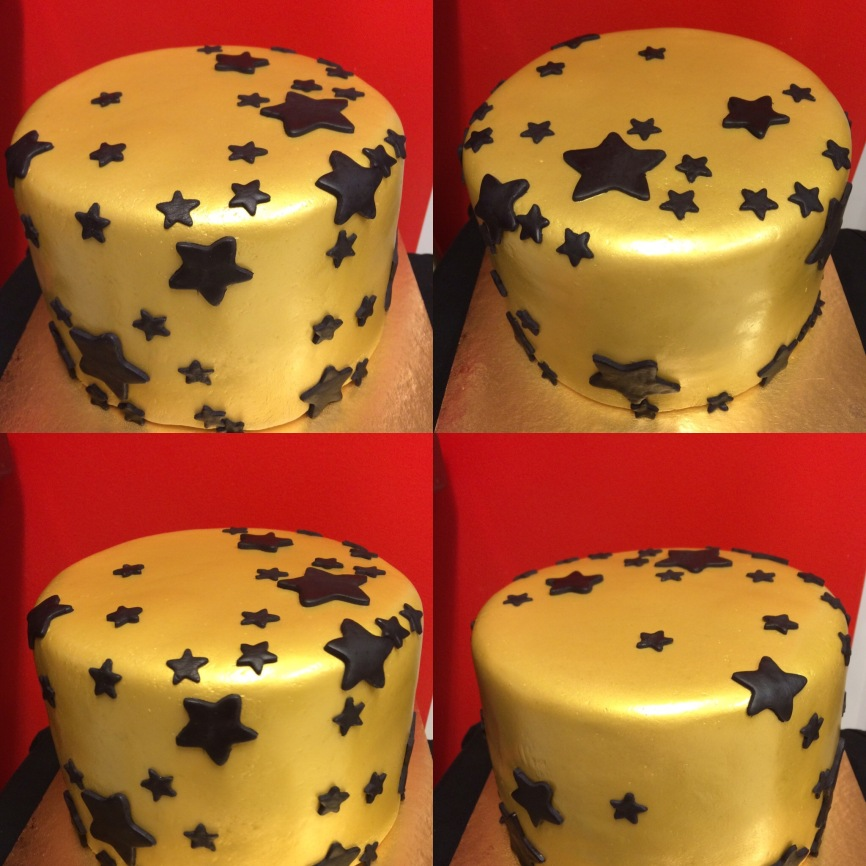 Gold fondant cake with black stairs