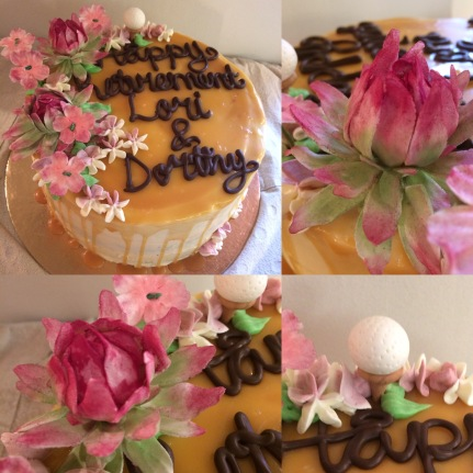 Chocolate salted caramel cake with handmade fondant water lily's and golf ball