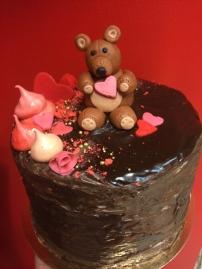 Chocolate and brandy truffle cake with a handmade fondant teddy bear