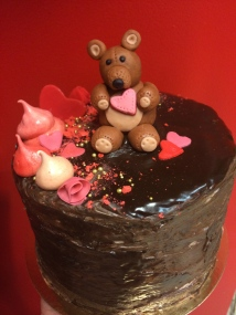 Chocolate and brandy truffle cake with a handmade fondant teddy bear