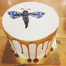 Chocolate salted caramel cake with a hand painted dragon fly