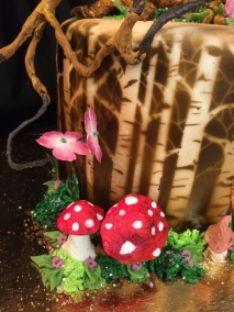 Enchanted Forest birthday cake, lemon raspberry cake with airbrushed birch trees, hand painted fairy, sculpted 3D tree and mushrooms