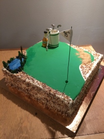 Chocolate toasted coconut and tequila golf-themed cake!