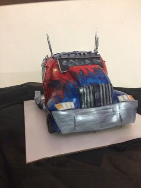 Optimus Prime cake, chocolate raspberry cake with handmade fondant and handmade painted