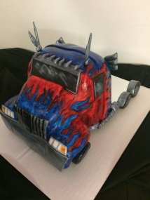 Optimus Prime cake, chocolate raspberry cake with handmade fondant and handmade painted