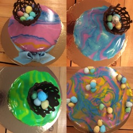 Easter mirror glass cakes