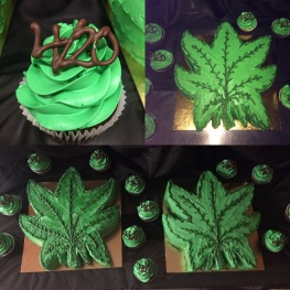 Cannabis leaf cakes and 4/20 cupcakes
