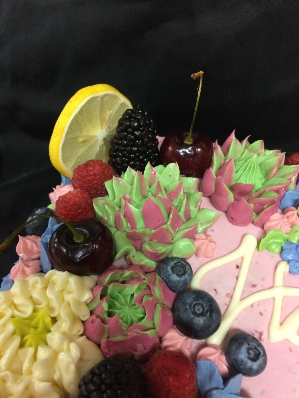 Buttercream flowers and fresh fruit birthday cake