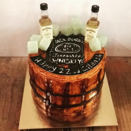 Whisky barrel birthday cake