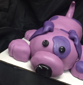 Purple puppy cake
