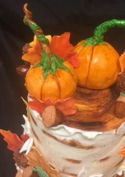 Fall themed wedding cake, Birch tree log cakes with handmade fondant fall decorations