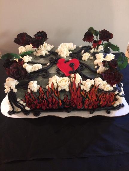 Beautiful and dark rock and roll birthday cake