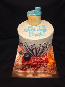 Big Lebowski birthday cake. White Russian Flavored cake with handmade fondant decorating from the Big Lebowski movie