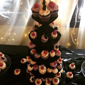 Gluten and dairy free vanilla strawberry wedding cupcakes with fresh fruit