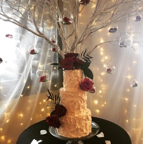 Gluten and dairy free vanilla strawberry wedding cake