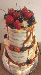 Chocolate salted caramel birch bark cake with fresh fruit