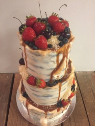 Chocolate salted caramel birch bark cake with fresh fruit
