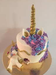 Unicorn eating a unicorn cake cake
